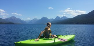 kayaking with mountain background